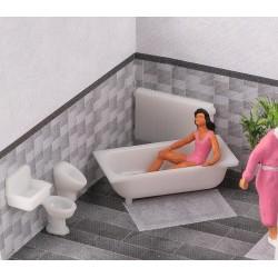 Faller 180993. Zestaw ceramiki łazienkowej, wyposażenie łazienki, skala H0.