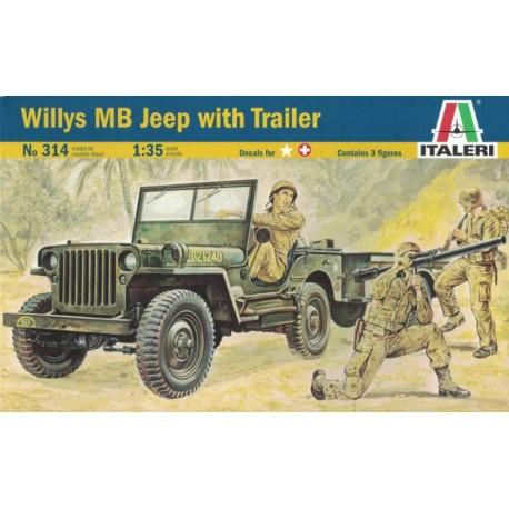Italeri 0314. Willys MB Jeep with Trailer, skala 1:35 (314)